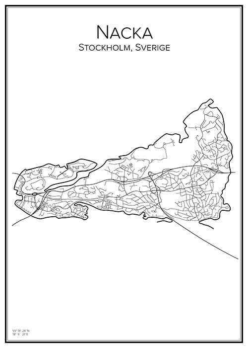 Stadskarta över Nacka