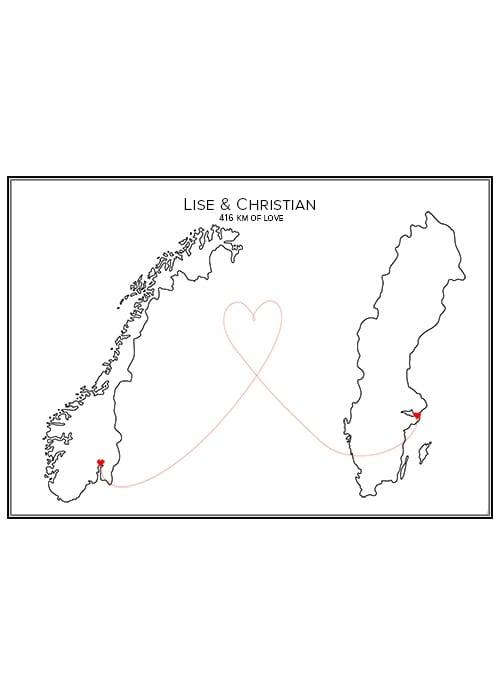 Kärlekskarta med två länder
