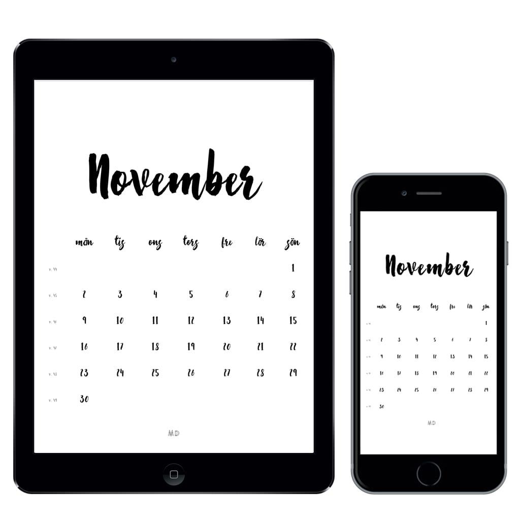 Kalender för november