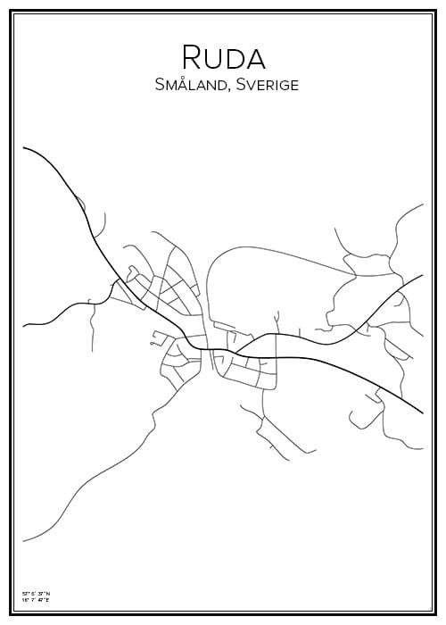Stadskarta över Ruda