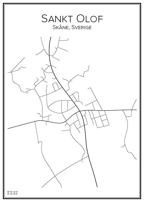 Stadskarta över Sankt Olof