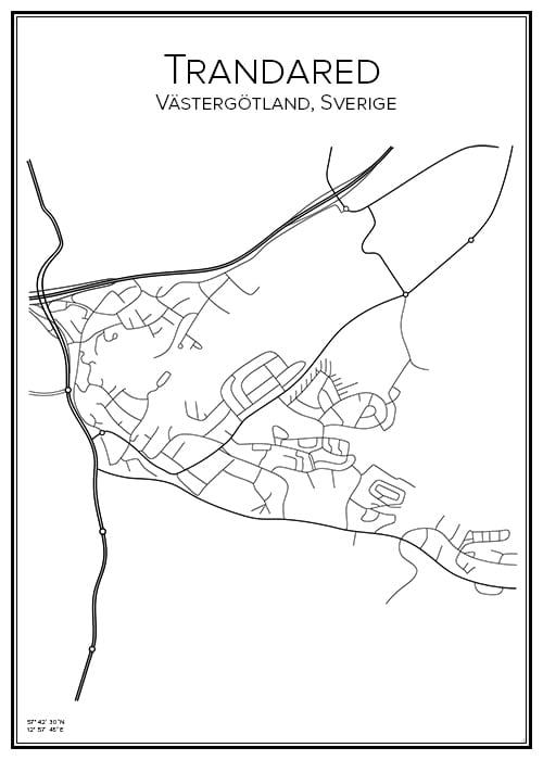 Stadskarta över Trandared