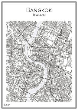 Stadskarta över Bangkok