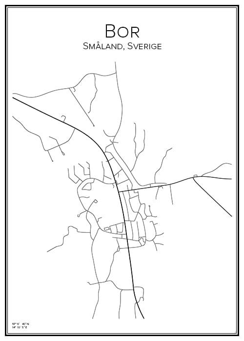 Stadskarta över Bor