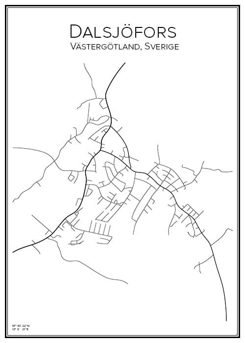 Stadskarta över Dalsjöfors