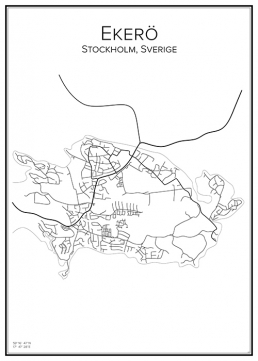 Stadskarta över Ekerö - tätort