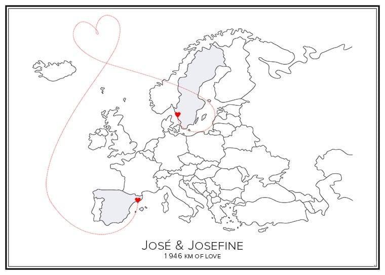 Stadskarta över Europa med två hjärtan