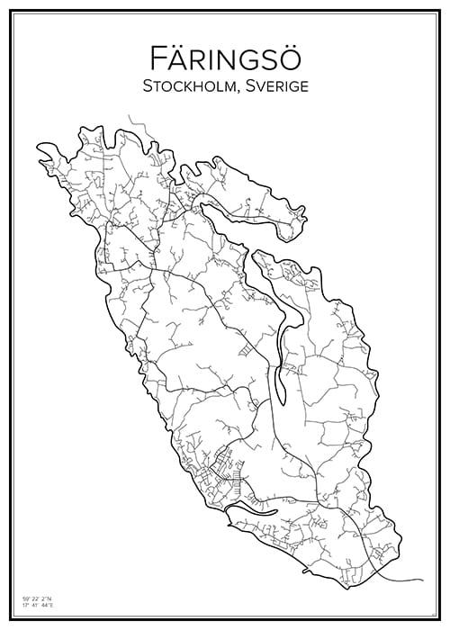 Stadskarta över Färingsö