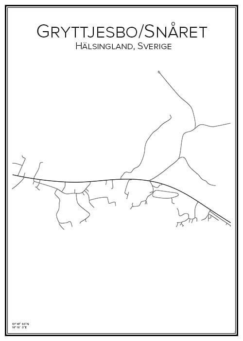 Stadskarta över Gryttjesbo/Snåret