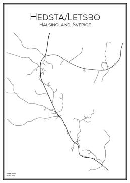 Stadskarta över Hedsta-Letsbo
