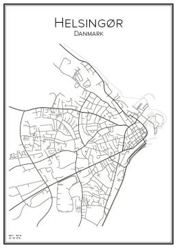 Stadskarta över Helsingör