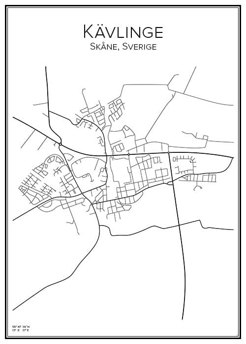 Stadskarta över Kävlinge
