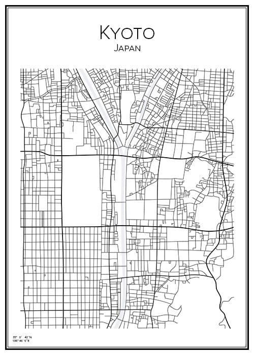 Stadskarta över Kyoto
