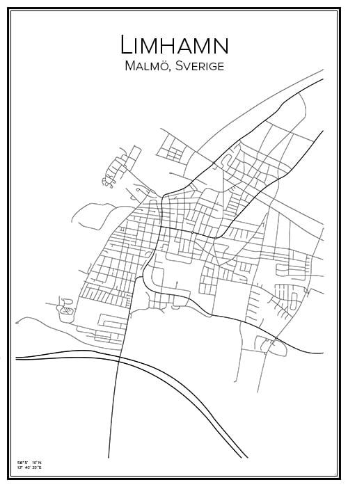 Stadskarta över Limhamn