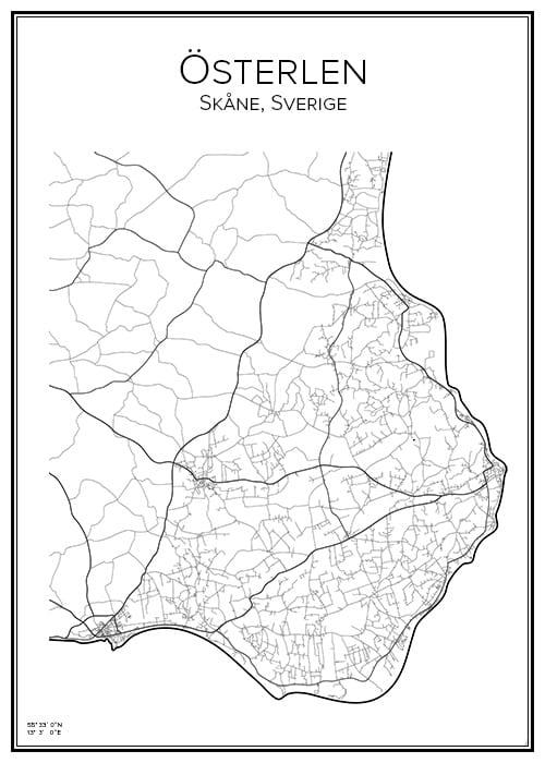 Stadskarta över Österlen
