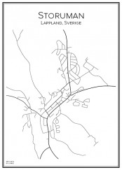Stadskarta över Storuman