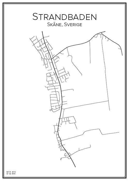Stadskarta över Strandbaden