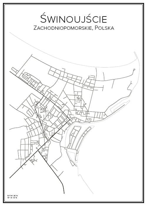 Stadskarta över Świnoujście
