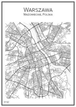 Stadskarta över Warszawa