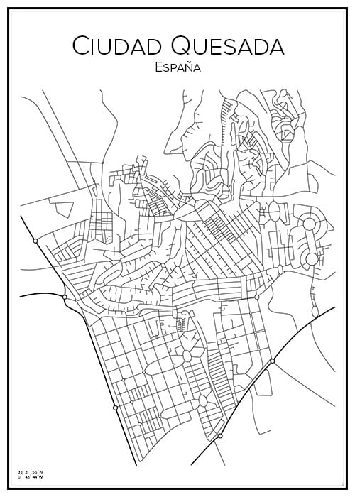 Stadskarta över Ciudad Quesada