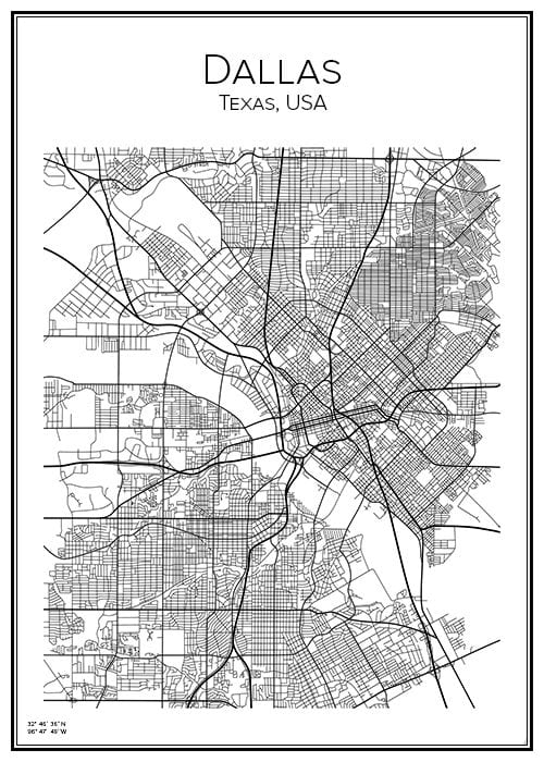 Stadskarta över Dallas