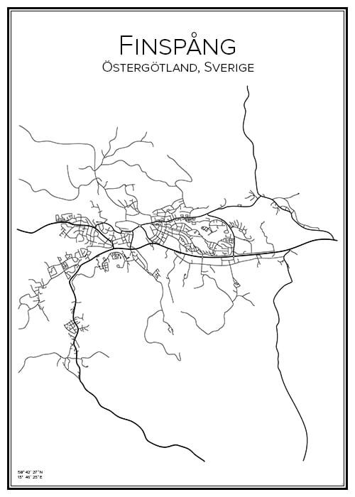 Stadskarta över Finspång