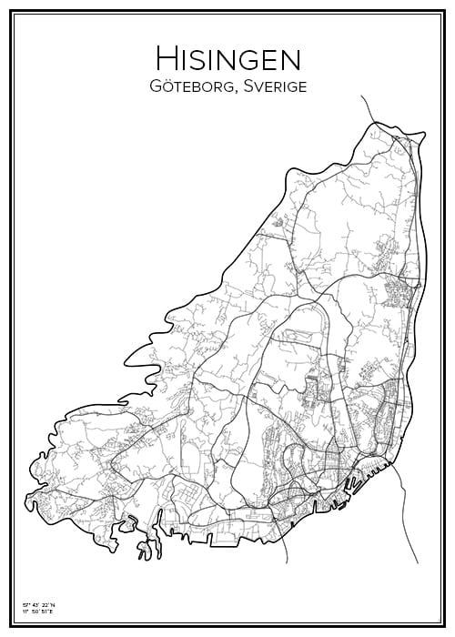 Stadskarta över Hisingen