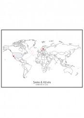 Stadskarta över världen med två hjärtan