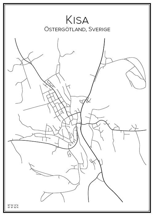 Stadskarta över Kisa