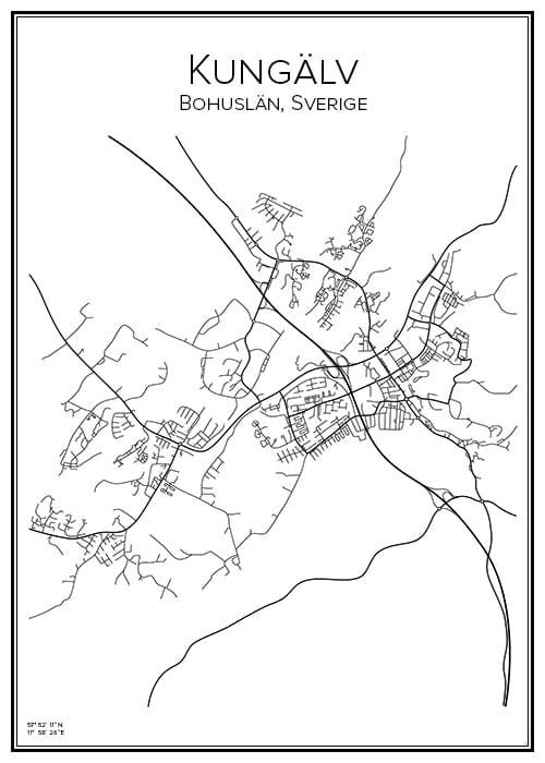 Stadskarta över Kungälv