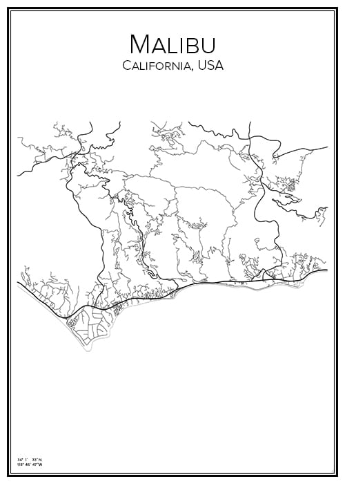 Stadskarta över Malibu
