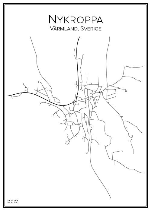 Stadskarta över Nykroppa
