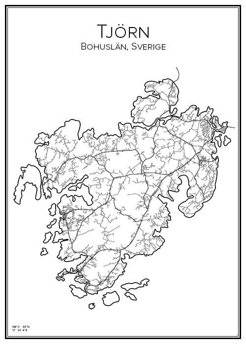 Stadskarta över Tjörn