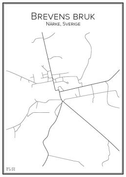 Stadskarta över Brevens bruk