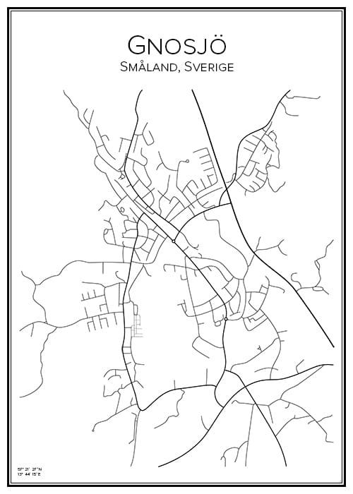 Stadskarta över Gnosjö