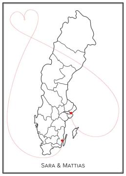 Kärlekskarta - Sverige