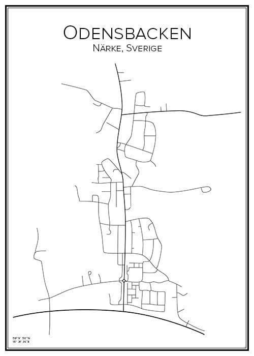 Stadskarta över Odensbacken