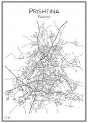 Stadskarta över Prishtina
