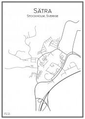 Stadskarta över Sätra