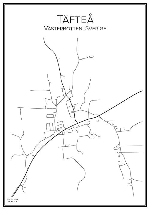 Stadskarta över Täfteå