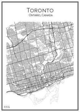 Stadskarta över Toronto i Kanada