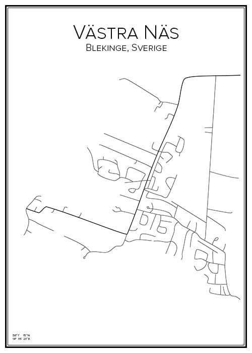 Stadskarta över Västra Näs