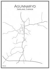 Stadskarta över Agunnaryd