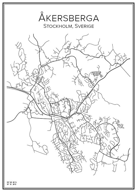 Stadskarta över Åkersberga