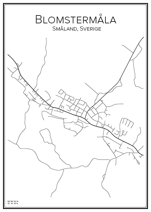 Stadskarta över Blomstermåla