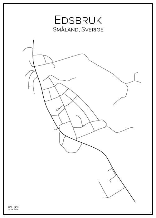 Stadskarta över Edsbruk