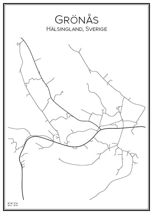 Stadskarta över Grönås