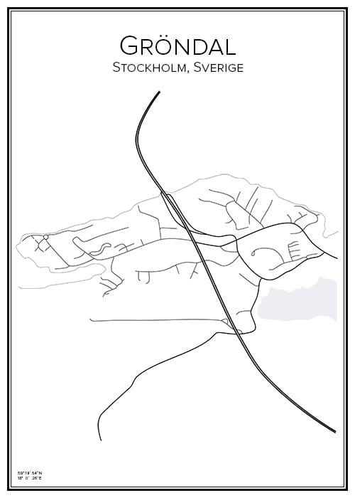 Stadskarta över Gröndal