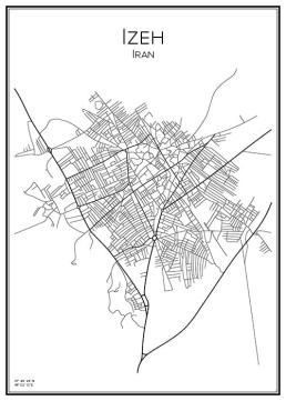 Stadskarta över Izeh i Iran