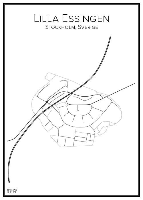 Stadskarta över Lilla Essingen